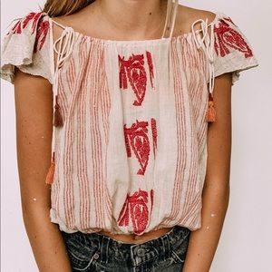NWT Free people pink & tan beach top